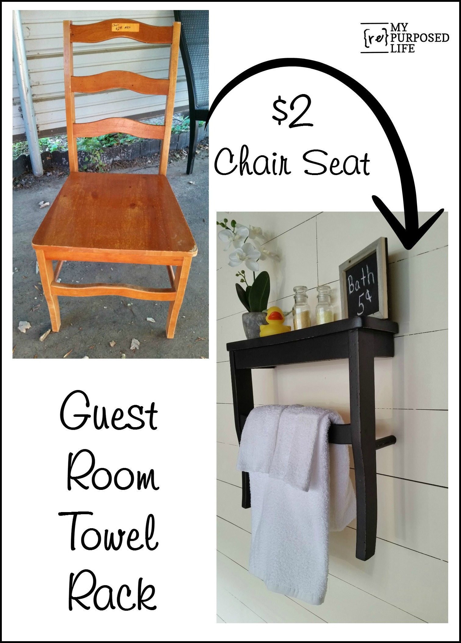 How to make a guest room towel rack shelf using an old chair MyRepurposedLife.com