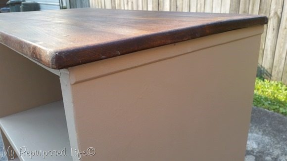 closeup of stained dresser top
