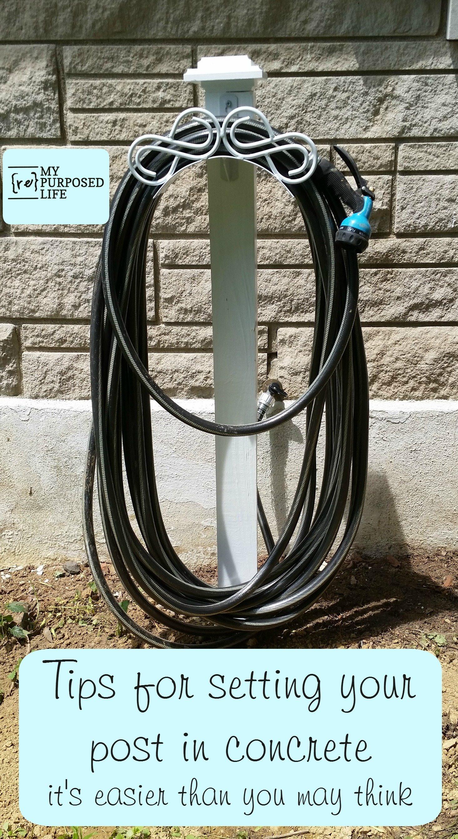easy diy hose hanger 4x4 post MyRepurposedLife.com