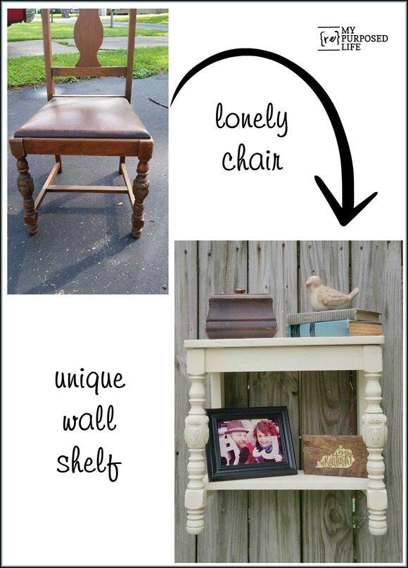 lonely chair into unique wall shelf MyRepurposedLife.com
