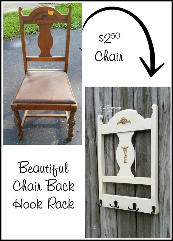 This repurposed chair back coat rack is easy to make out of any chair you may have or find on the side of the road. This project takes only an afternoon. #MyRepurposedLife #repurposed #chair #back #hookrack #towels #hats #scarves via @repurposedlife