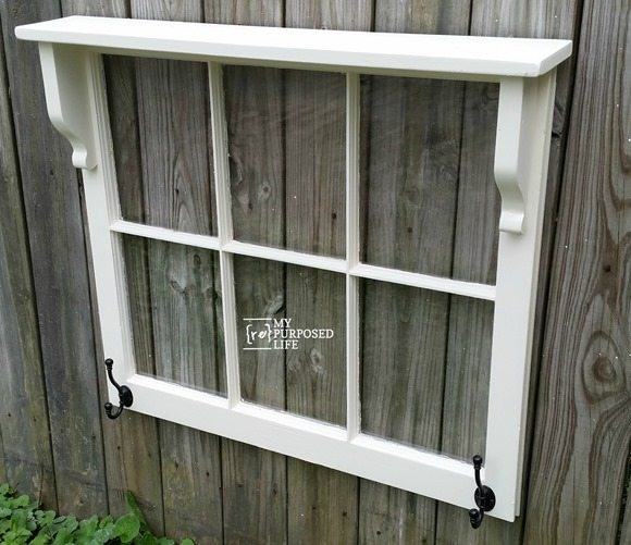 simple white window hook shelf MyRepurposedLife.com