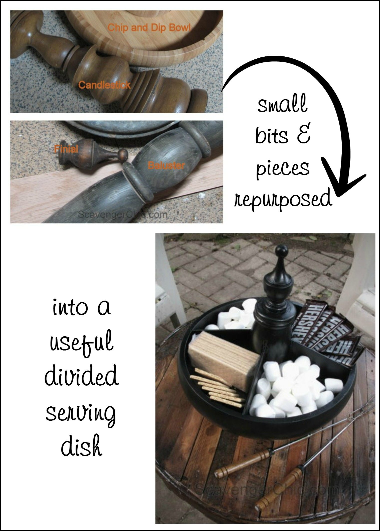 small bits and pieces repurposed into a useful divided serving dish MyRepurposedLife
