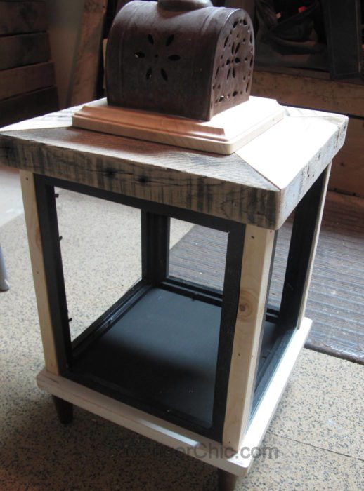 DIY Lantern from scrap wood and frames-008