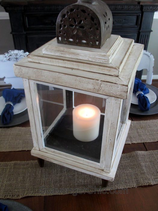 Lantern made from scrap wood and thrift store frames Scavenger Chic for MyRepurposedLife.com