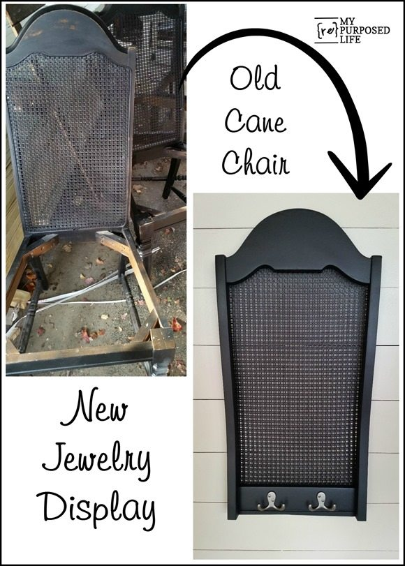 old cane chair back into a jewelry display piece MyRepurposedLife.com