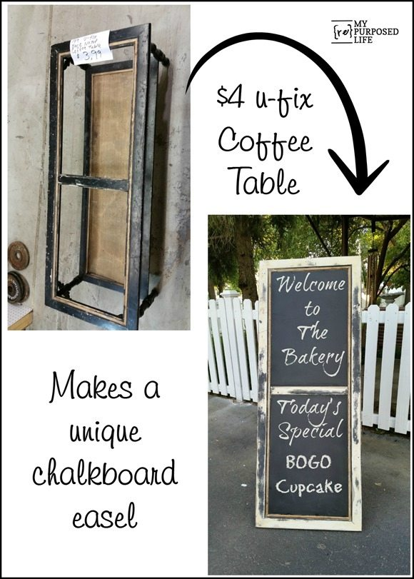 Repurposed Coffee Table Into A Chalkboard Easel My