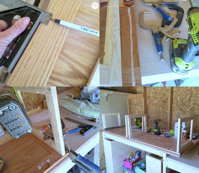 building bookshelf out of cupboard doors