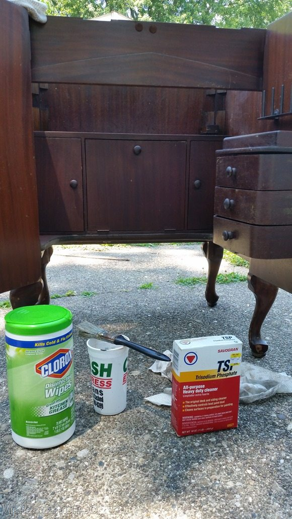 cleaning dirty mildew sewing cabinet