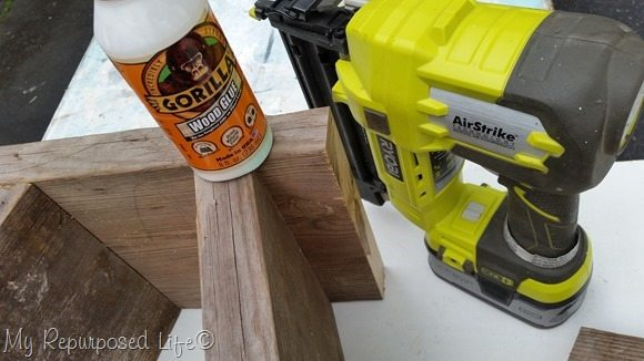 gorilla wood glue and brad nailer holds boards in place