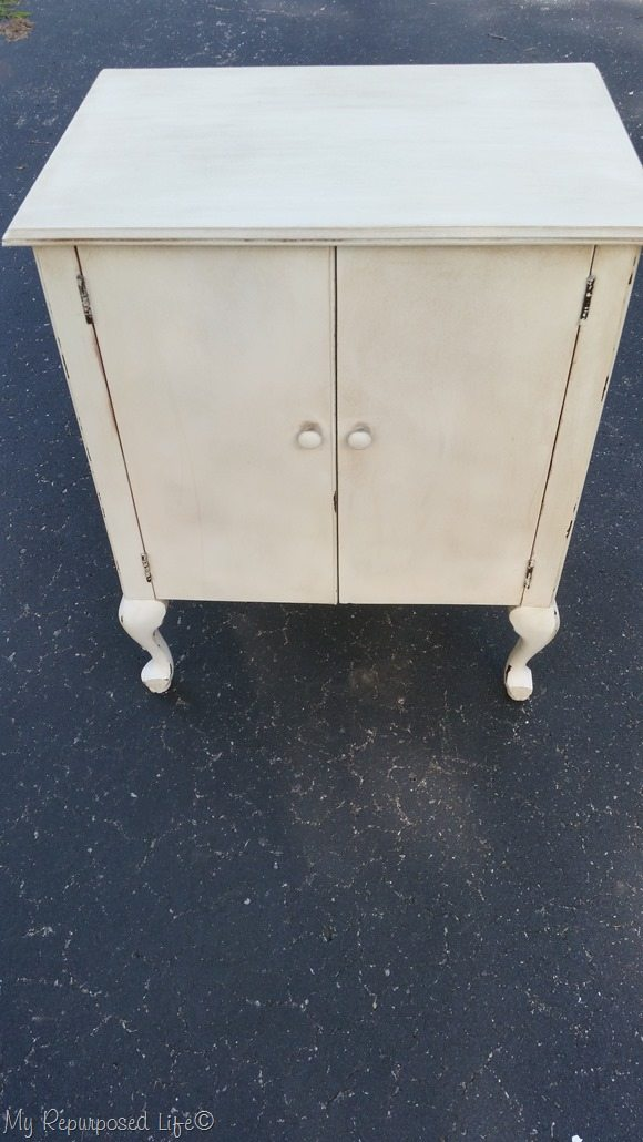 off white vintage sewing cabinet after