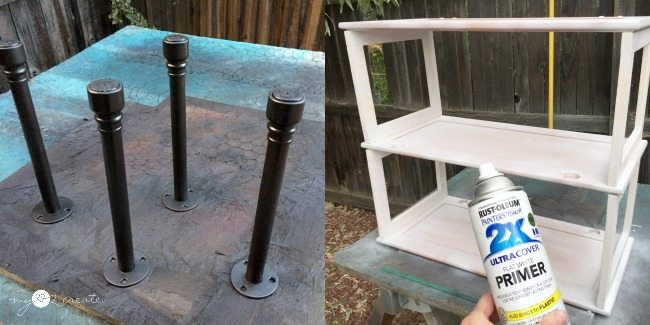 spray painting bookshelf