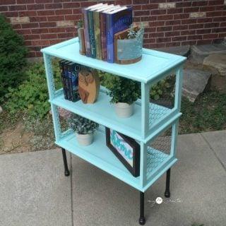 Repurposed Cupboard Door Bookshelf