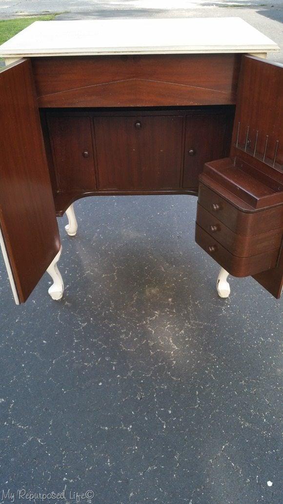 vintage sewing cabinet after