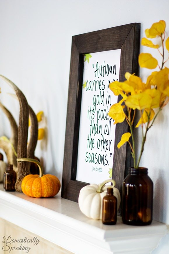 Rustic Autumn Mantle and free fall printable featured at Talk of the Town - www.knickoftime.net