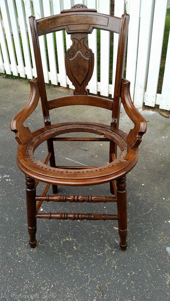 antique cane chair after hickory gel stain - Antique Cane Chair Makeover With Upholstered Seat - My Repurposed Life®