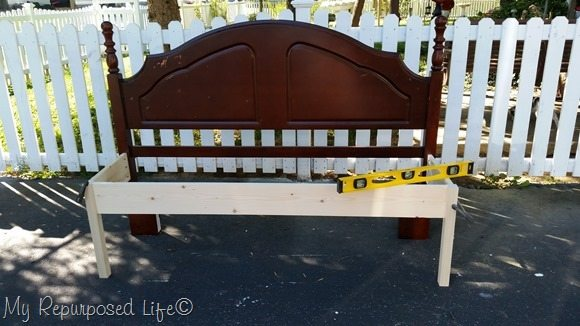 attach frame to headboard to make bench