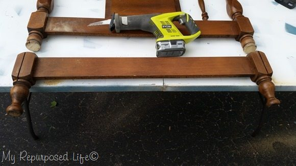 cut headboard with reciprocating saw