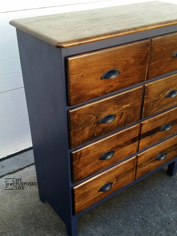 navy blue stained chest of drawers