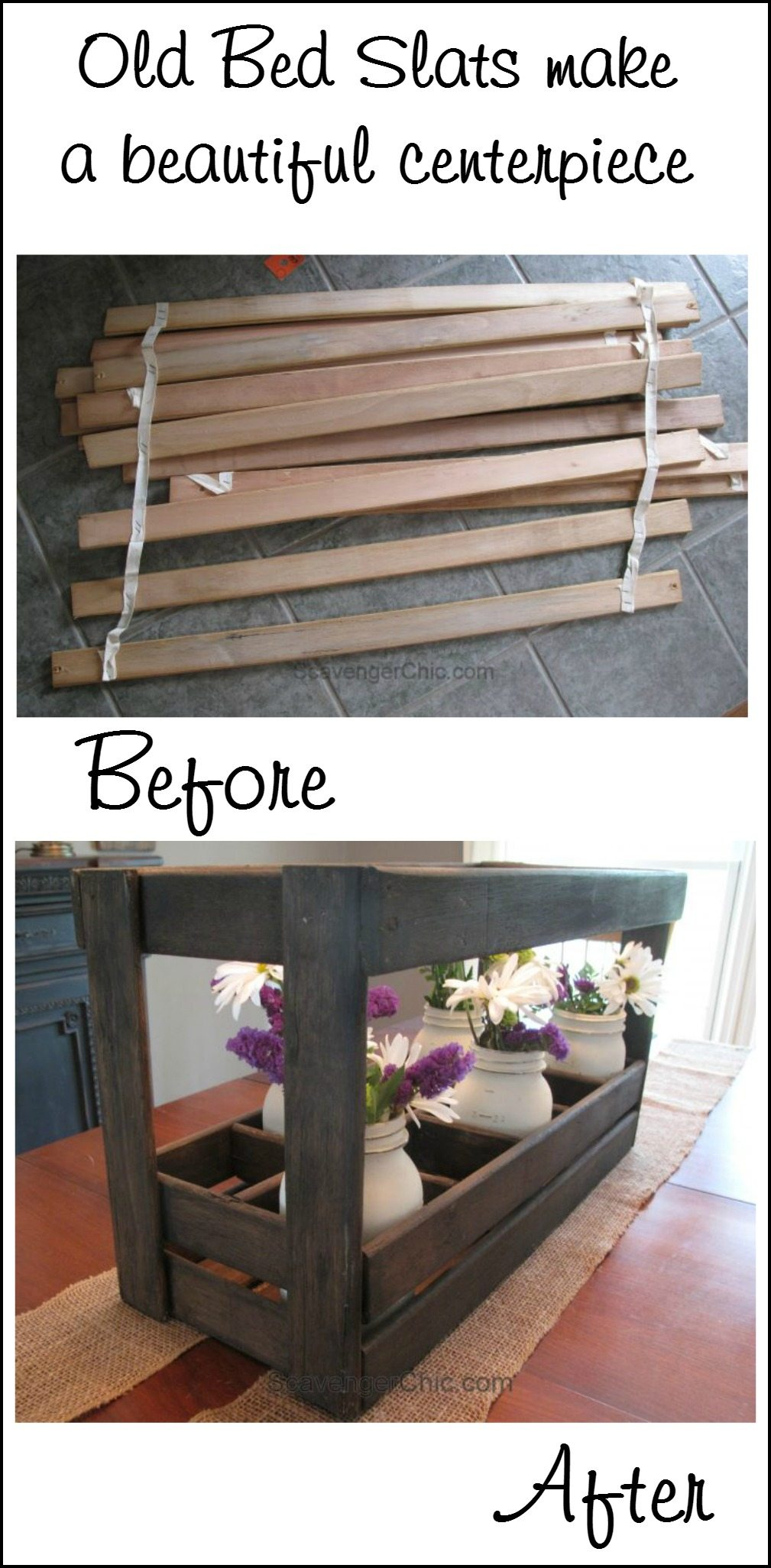 wooden caddy from bed slats my repurposed life. Black Bedroom Furniture Sets. Home Design Ideas