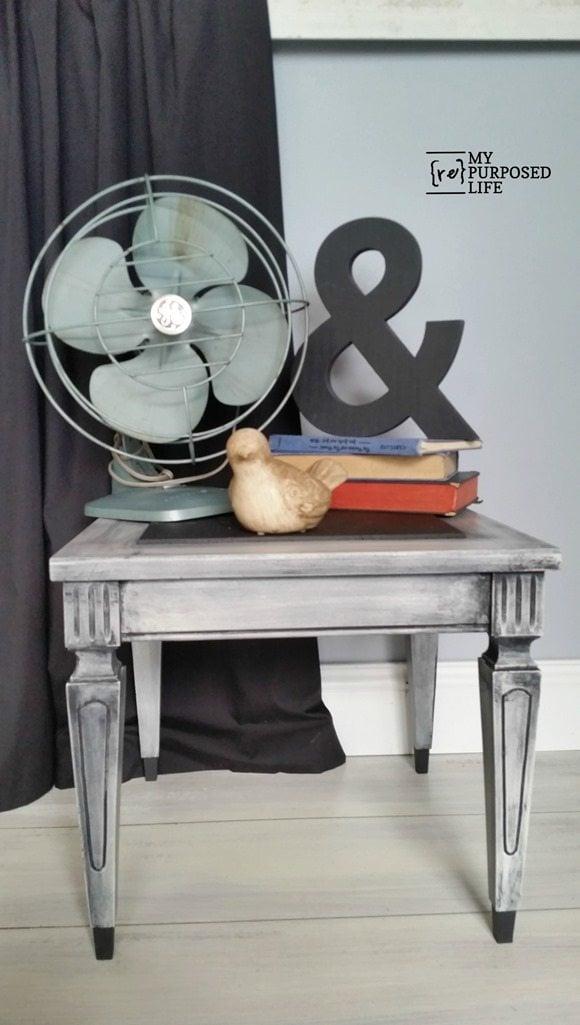 small vintage side table makeover MyRepurposedLife.com