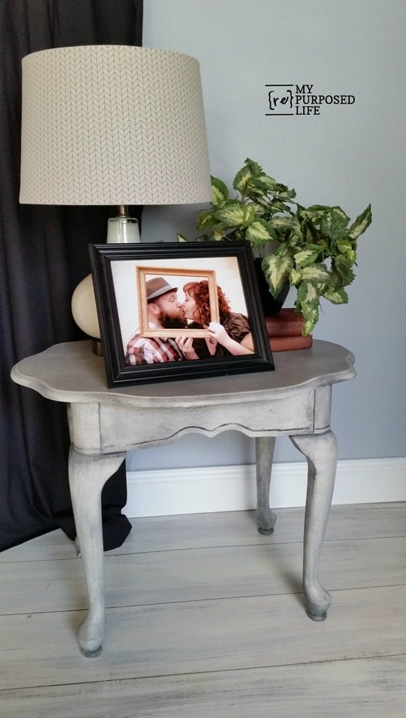 thrift store side table makeover with paint and wax MyRepurposedLife.com