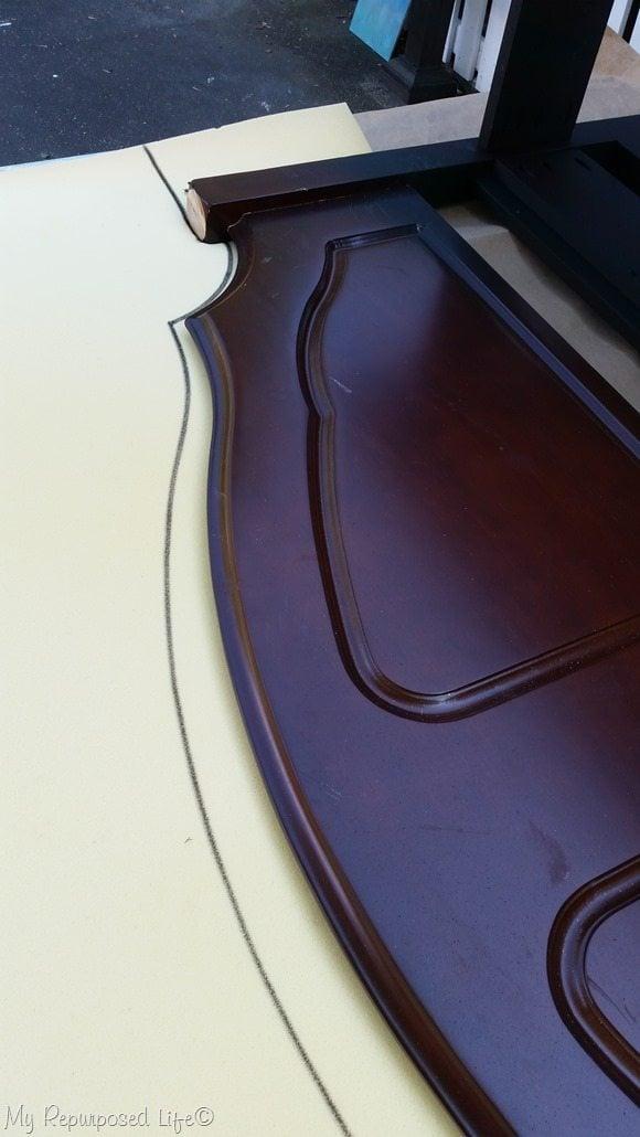 trace headboard shape onto foam