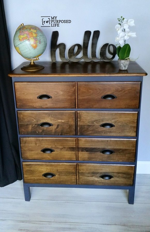 ugly dresser makeover navy jacobean MyRepurposedlife.com