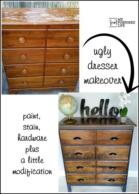 How to update a dresser using old furniture. Removing the front trim helps to modify the look of this vintage dresser. Photo tutorial included. #MyRepurposedLife #repurposed #furniture #update #dresser #modern via @repurposedlife