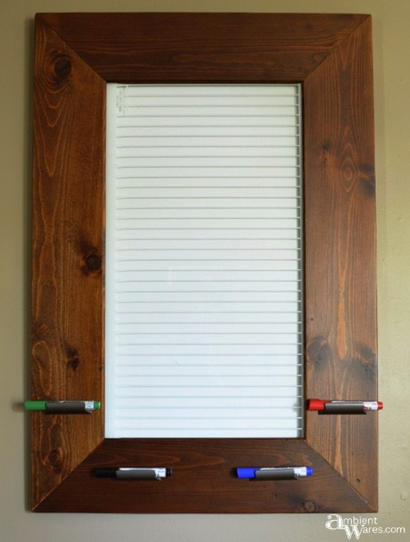 Repurposed refrigerator shelf dry erase board featured at Talk of the Town | www.knickoftime.net