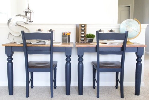 Repurposed Kitchen table desks painted with Fusion Mineral Paint midnight blue featured at Talk of the Town | www.knickoftime.net