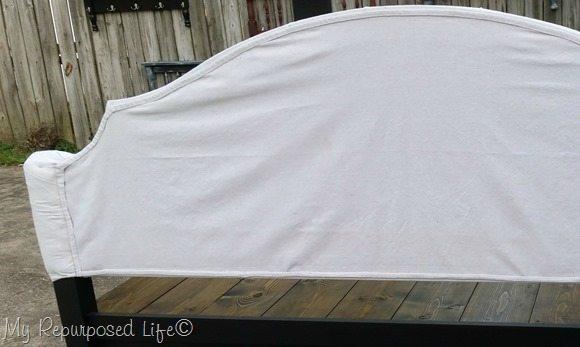back of upholstered full headboard bench MyRepurposedLife.com