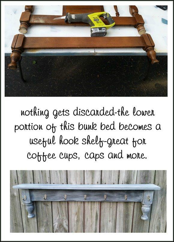 before and after bunk bed legs repurposed hook shelf coffee cup rack MyRepurposedLife.com