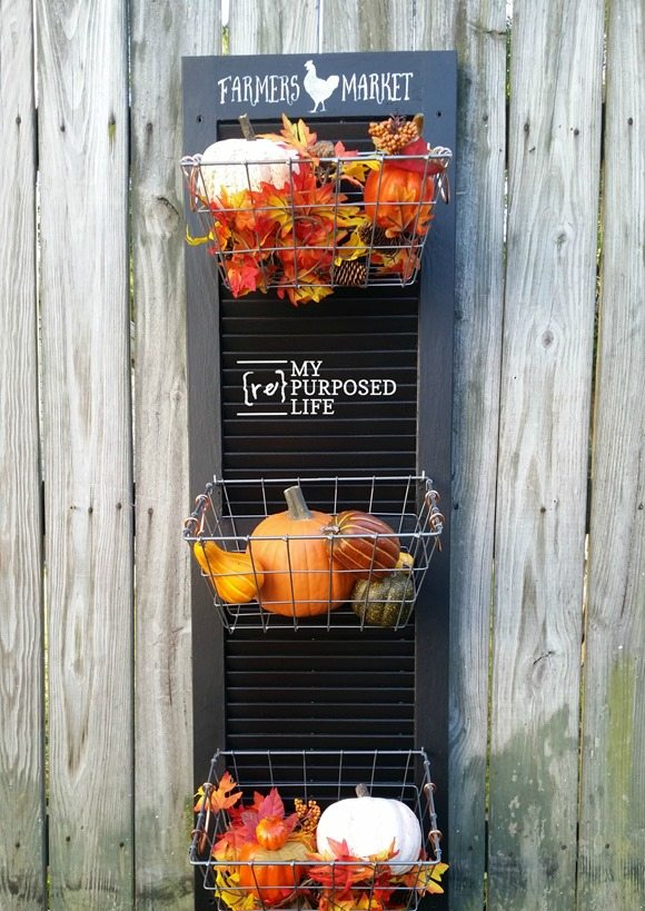black repurposed shutter vegetable bin with wire baskets MyRepurposedLife.com
