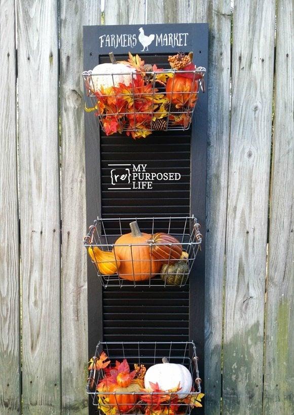 black repurposed shutter vegetable bin with wire baskets MyRepurposedLife.com