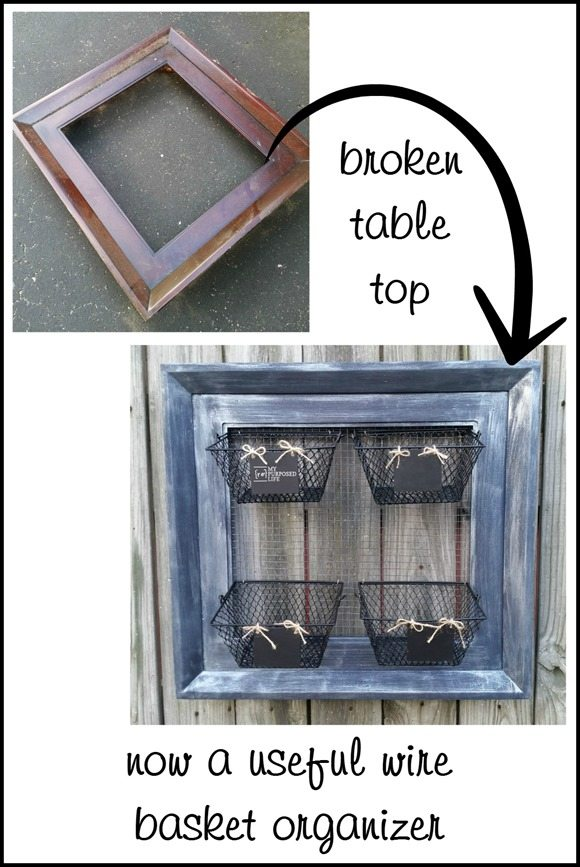 broken table top repurposed useful wire basket organizer MyRepurposedLife.com