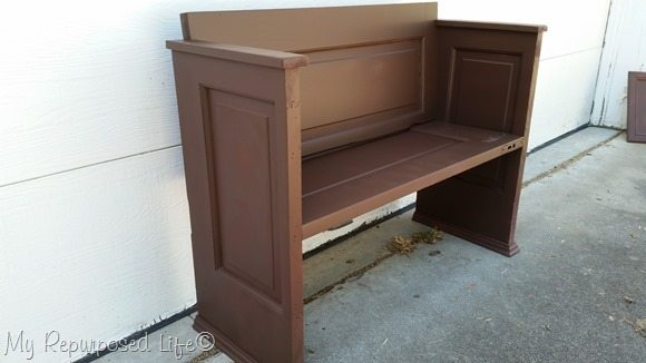 brown door bench