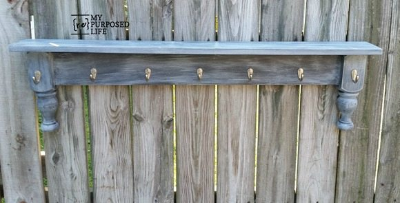 bunk bed legs repurposed wall shelf MyRepurposedLife.com