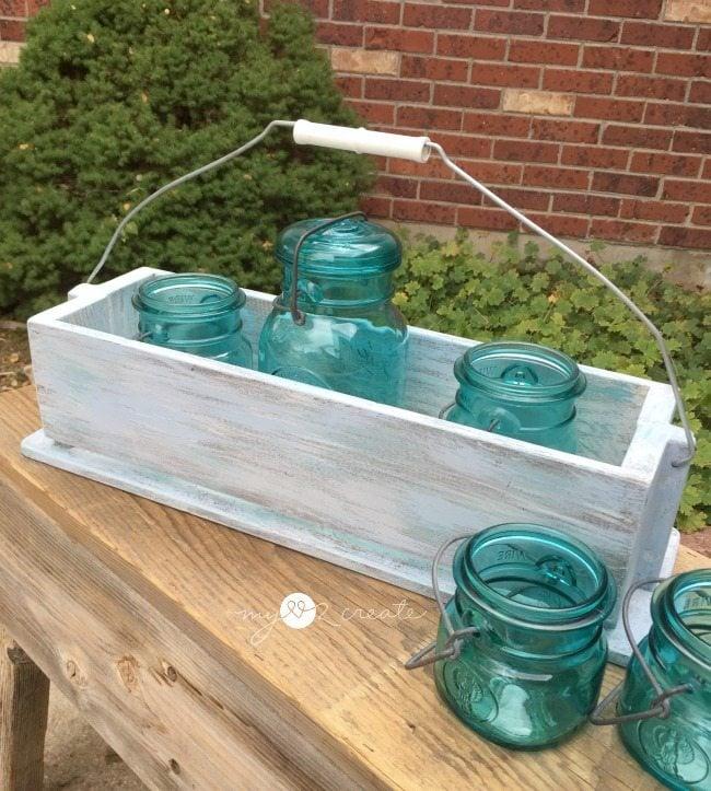 caddy with mason jars