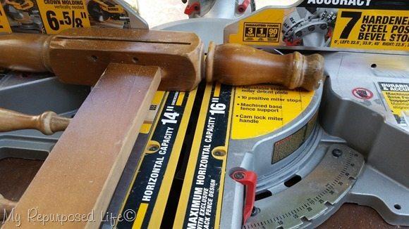 cut legs on miter saw