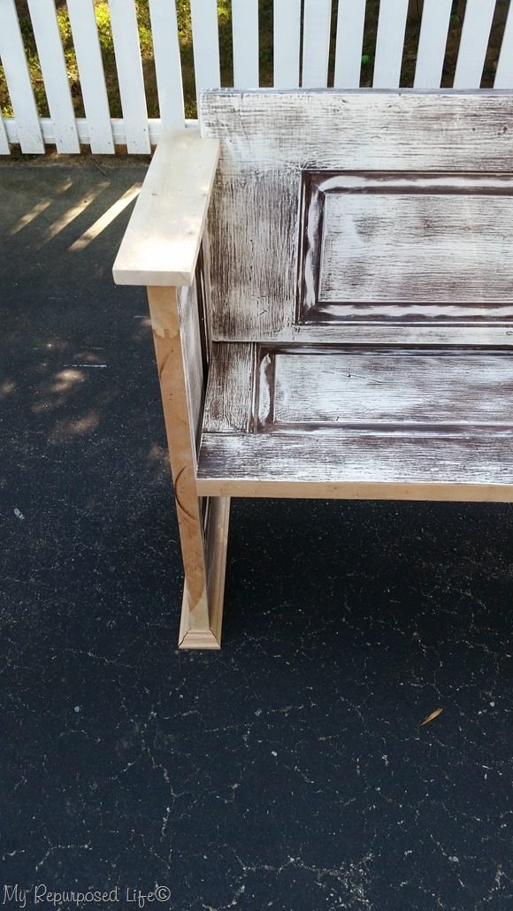 fitting armrest on door bench & Door Bench - My Repurposed Life®