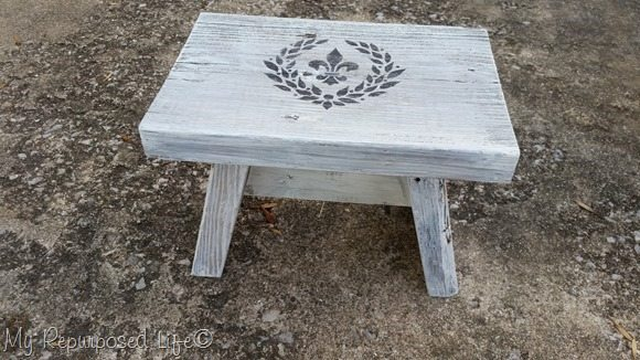 fleur-de-lis stenciled step stool