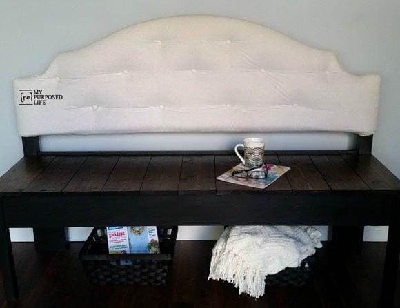 full sized upholstered headboard bench MyRepurposedLife.com
