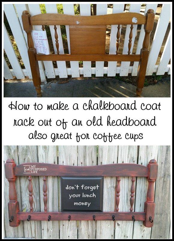 headboard chalkboard coat rack coffee cup holder MyRepurposedLife.com