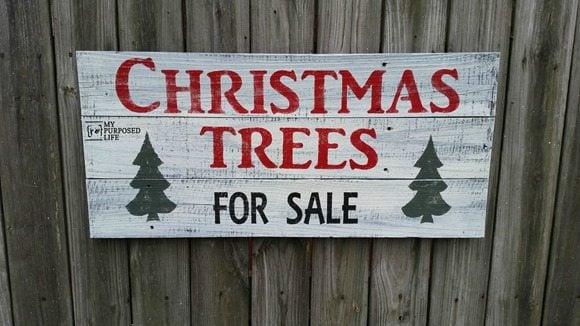 joanna gaines Christmas trees for sale sign MyRepurposedlife.com