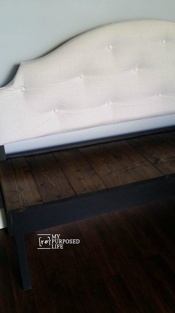large upholstered headboard bench MyRepurposedLife.com