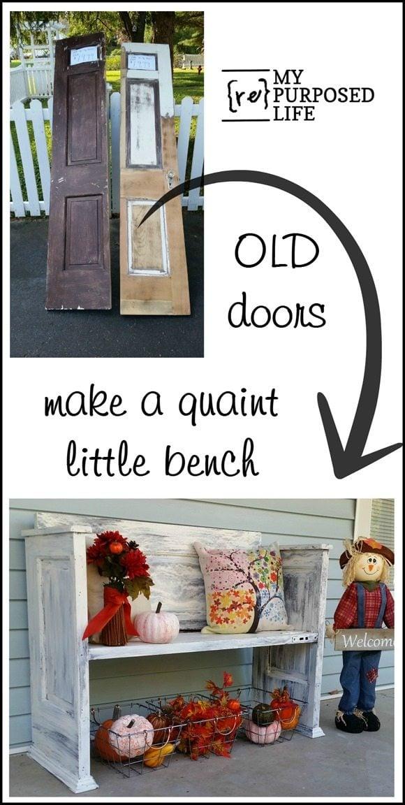 old doors make a quaint bench MyRepurposedLife.com