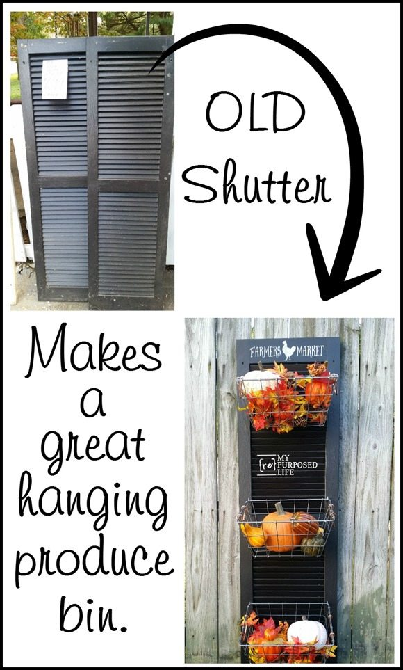 old shutter repurposed hanging produce bin MyRepurposedLife.com
