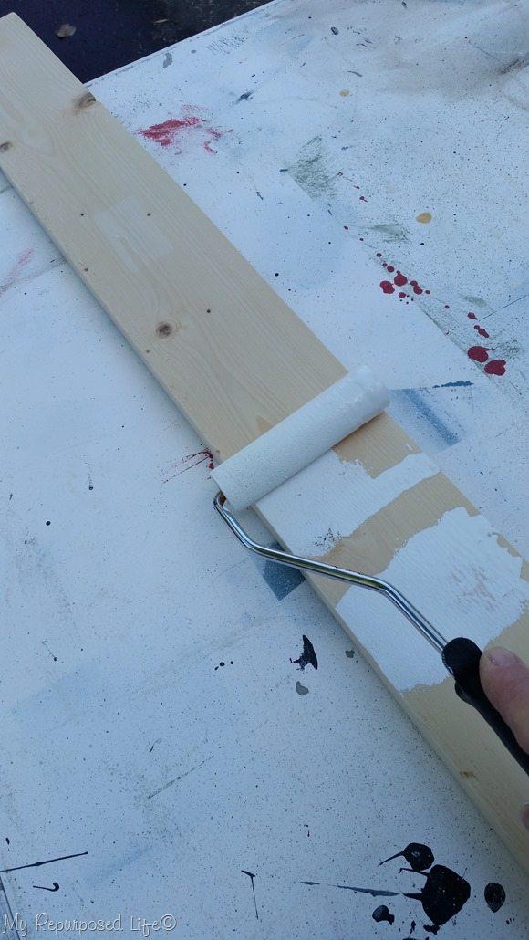 paint twin headboard bench slats