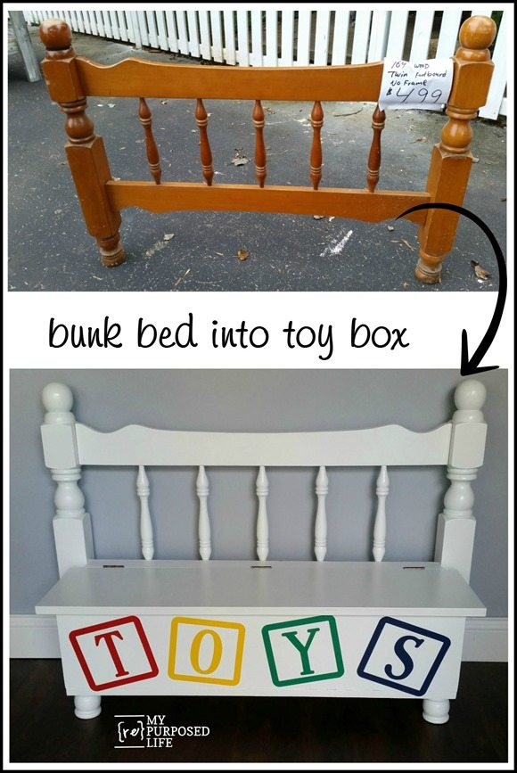 repurposed bunk bed into toy box MyRepurposedLife.com